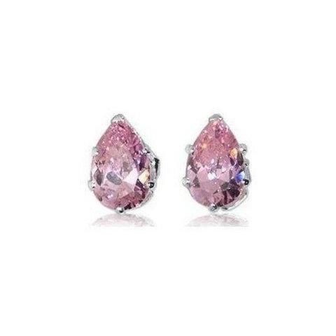 Image of Earrings $13629.00 3/4 Carat Amethyst Purple Pear Cut CZ Stud Sterling Silver Earrings blue color-sterling-silver cubic-zirconia cz earrings
