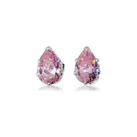 Earrings $13629.00 3/4 Carat Amethyst Purple Pear Cut CZ Stud Sterling Silver Earrings blue color-sterling-silver cubic-zirconia cz earrings