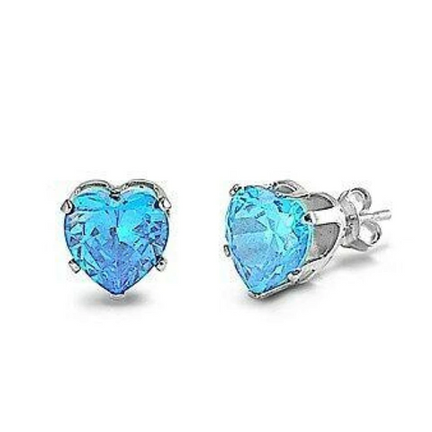 Image of Earrings $14.26 3/4 Carat Aquamarine Blue CZ Heart Stud Earrings in 5mm Sterling Silver aquamarine blue cubic-zirconia cz earrings
