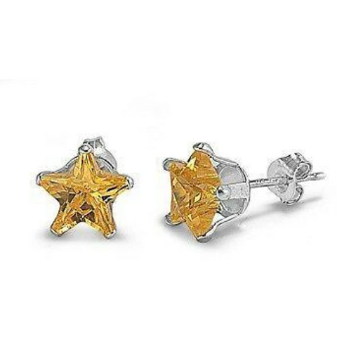 Image of Earrings $14.26 3/4 Carat Citrine Yellow CZ Star Stud Earrings in 5mm Sterling Silver cubic-zirconia cz earrings size-sterling-silver star