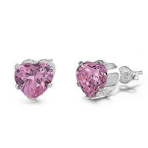 Image of Earrings $14.26 3/4 Carat Pink CZ Heart Stud Earrings in 5mm Sterling Silver cubic-zirconia cz earrings heart heart-shaped