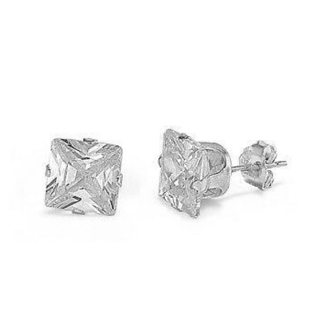 Earrings $12159.00 3/4 Carat Princess Cut Clear CZ Stud in 5mm Sterling Silver Earrings clear cubic-zirconia cz earrings over-500