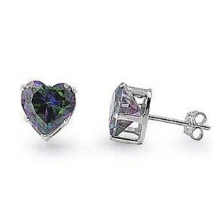 Earrings $14.26 3/4 Carat Rainbow Topaz CZ Heart Earrings in 5mm Sterling Silver cubic-zirconia cz earrings heart heart-shaped