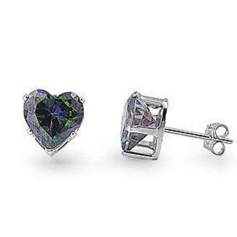 Image of Earrings $14.26 3/4 Carat Rainbow Topaz CZ Heart Earrings in 5mm Sterling Silver cubic-zirconia cz earrings heart heart-shaped