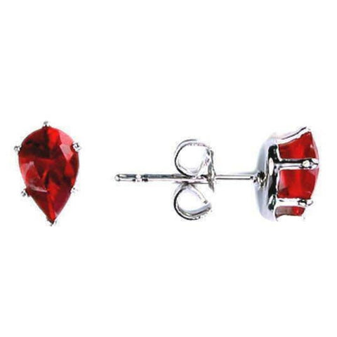 Image of Earrings $13629.00 3/4 Carat Ruby Red Pear Cut CZ Stud Sterling Silver Earrings color-sterling-silver cubic-zirconia cz earrings