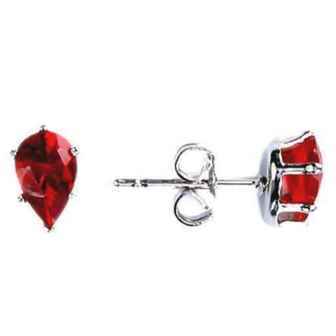 Image of Earrings $13629.00 3/4 Carat Ruby Red Pear Cut CZ Stud Sterling Silver Earrings color-sterling-silver cubic-zirconia cz earrings over-500