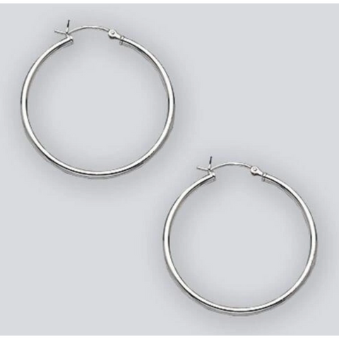 Earrings $26.86 35mm Hinged Hoop Earrings with 1.7mm Tubing in Sterling Silver 25-50 35mm circle earrings hinged