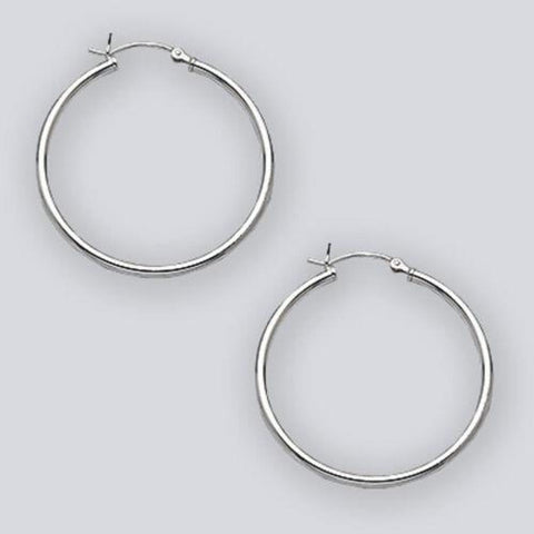 Earrings $26.86 35mm Hinged Hoop Earrings with 1.7mm Tubing in Sterling Silver 35mm circle earrings hinged hoops