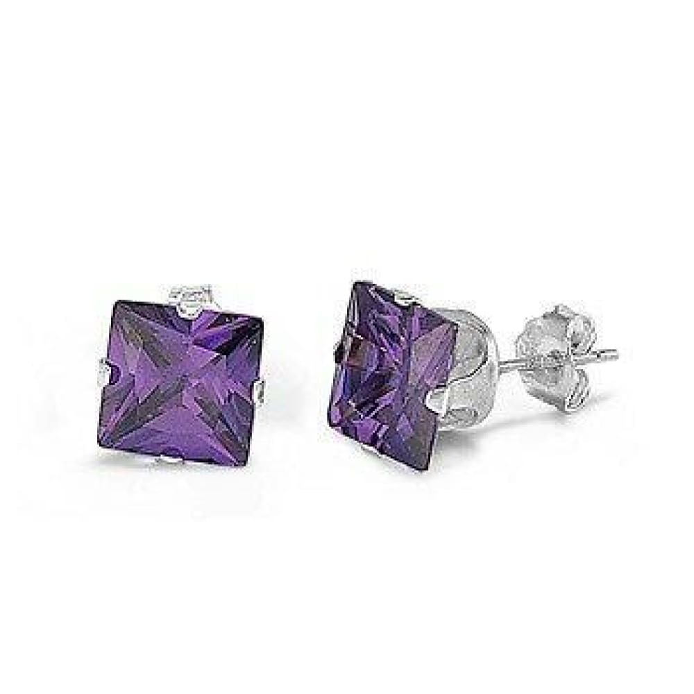 Earrings $54.58 5 Pair Amethyst CZ Square Stud Earrings in Sterling Silver in 3 4 5 6 and 7mm amethyst cubic-zirconia cz earrings square