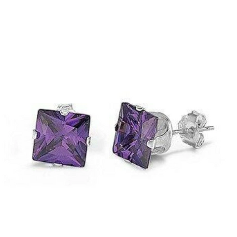 Image of Earrings $54.58 5 Pair Amethyst CZ Square Stud Earrings in Sterling Silver in 3 4 5 6 and 7mm 50-100 amethyst cubic-zirconia cz earrings