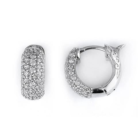 Image of Earrings $170.00 5 Row Cubic Zirconia Pave Hoop Earrings (Sterling Silver) by CZ Sparkle Jewelry® 100-200