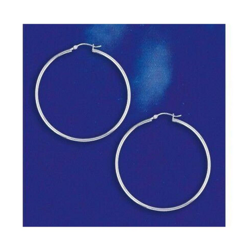 Earrings $41.98 50mm Hinged Hoop Earrings with 1.7mm Tubing in Sterling Silver 25-50 50mm circle earrings hinged