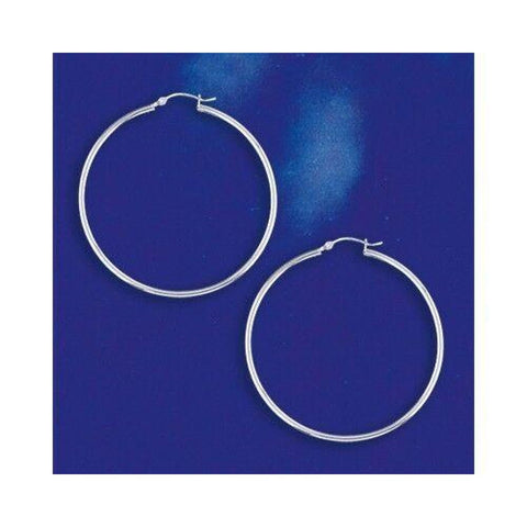 Earrings $41.98 50mm Hinged Hoop Earrings with 1.7mm Tubing in Sterling Silver 50mm circle earrings hinged hoops