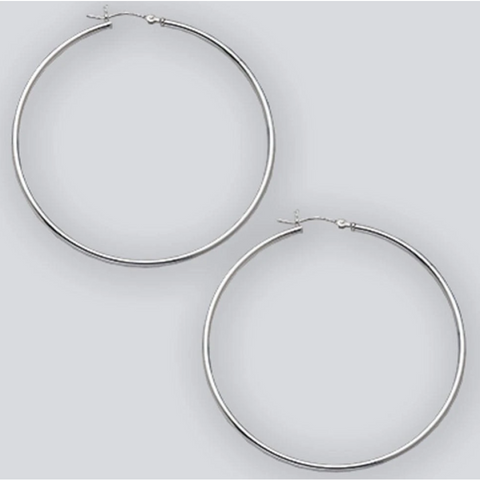 Earrings $45.76 60mm Hinged Hoop Earrings with 1.7mm Tubing in Sterling Silver 25-50 60mm circle earrings hinged