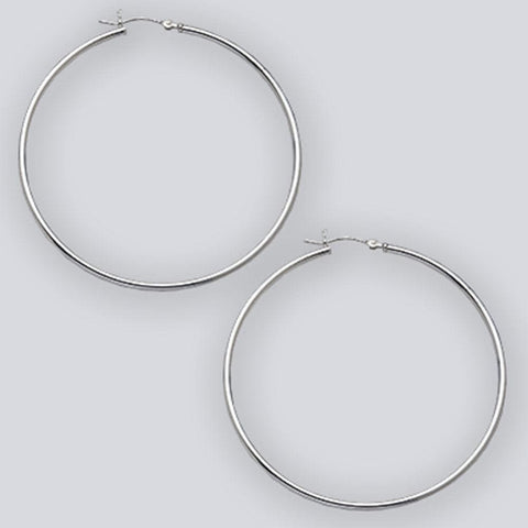 Earrings $45.76 60mm Hinged Hoop Earrings with 1.7mm Tubing in Sterling Silver 60mm circle earrings hinged hoops