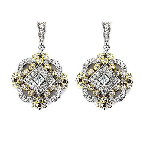 Earrings $240.00 Antique Design Fancy Cubic Zirconia Drop Earrings (Gunmetal Black Rhodium) Big Drop Formal Earrings Formal Occasion Vintage