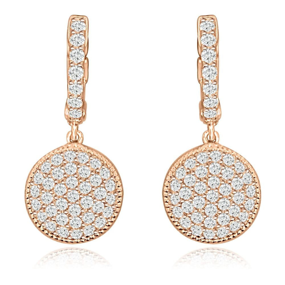 Earrings $144.00 Cubic Zirconia Pave Disc Earrings (Silver 14K Yellow And Rose Gold) By Cz Sparkle Jewelry® Drop Formal Earrings Formal