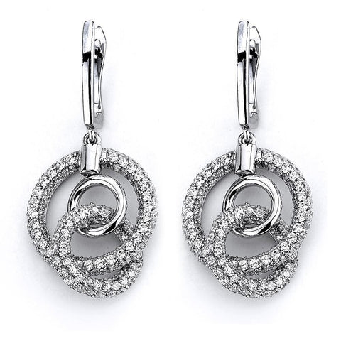 Earrings $256.00 Dangling Pave Set Cubic Zirconia Circles Drop Earrings Big Drop Formal Earrings Formal Occasion