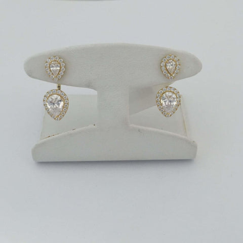 Earrings $160.00 Double Pear Cut Cz Earring Jacket With Halo Best Seller Earrings Jacket Solitaire Trending