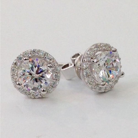 Image of Earrings $76.99 Halo Stud Cubic Zirconia Earrings - Rhodium Plated Sterling Silver Best Seller Formal Earrings Formal Occasion Halo Stud