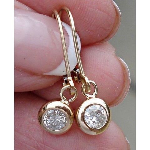 Image of Earrings $999.99 Luxinelle 0.40 Carat Bezel Diamond Dangle Drop Earrings In 14K Yellow Or White Gold Leverback Bezel Drop