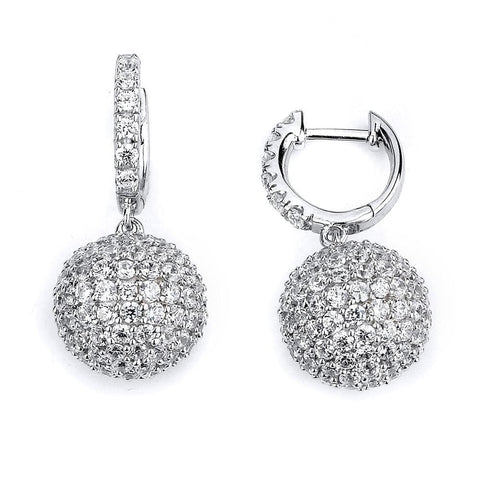 Image of Earrings $256.00 Micro Pave Ball Drop Earrings - 1 Inch Drop (14K Rose Gold) Big Drop Formal Earrings Formal Occasion