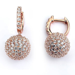 Earrings $256.00 Micro Pave Ball Drop Earrings - 1 Inch Drop (14K Rose Gold) Big Drop Formal Earrings Formal Occasion