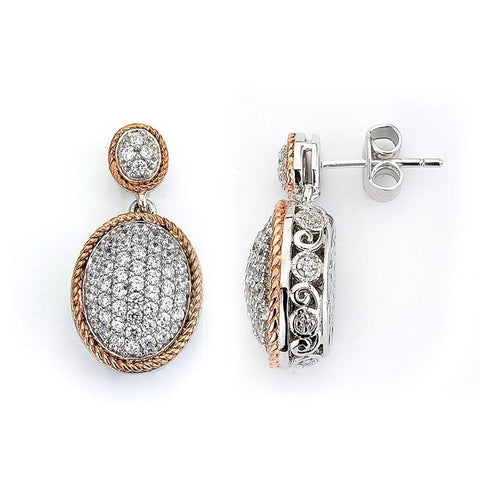 Earrings $168.00 Micro Pave Oval Cubic Zirconia Drop Earrings (14K Yellow Gold) Drop Formal Earrings Formal Occasion Vintage