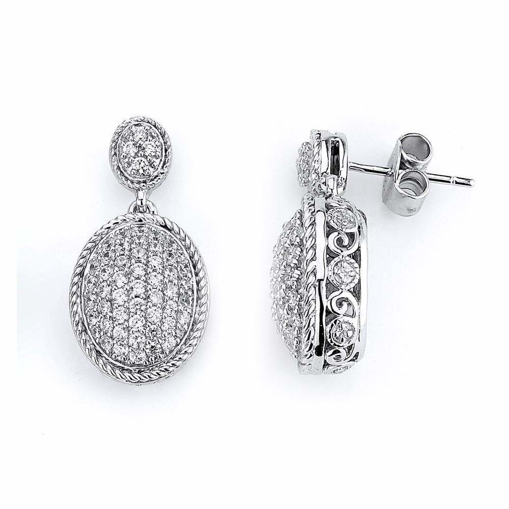 Earrings $168.00 Micro Pave Oval Cubic Zirconia Drop Earrings (Black Rhodium) Drop Formal Earrings Formal Occasion Vintage