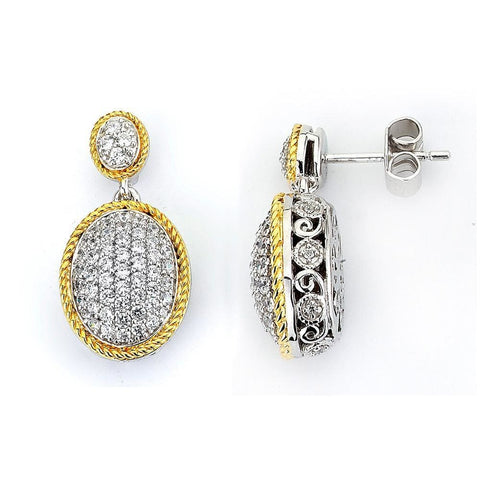 Earrings $168.00 Micro Pave Oval Cubic Zirconia Drop Earrings Drop Formal Earrings Formal Occasion Vintage