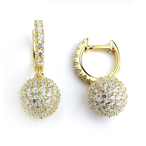 Earrings $212.00 Micro Pave Small Sparkling Ball Drop Cubic Zirconia Earrings (14K Rose Gold) Drop Formal Earrings Formal Occasion