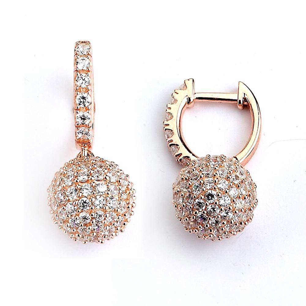 Earrings $212.00 Micro Pave Small Sparkling Ball Drop Cubic Zirconia Earrings (14K Yellow Gold) Drop Formal Earrings Formal Occasion