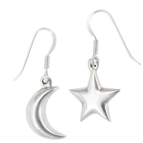 Image of Earrings $21.40 Moon and Star Sterling Silver Set Earrings earrings,moon,size-sterling-silver,star,sterling silver