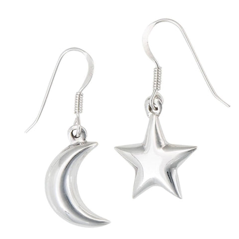 Earrings $21.40 Moon and Star Sterling Silver Set Earrings earrings moon star sterling silver