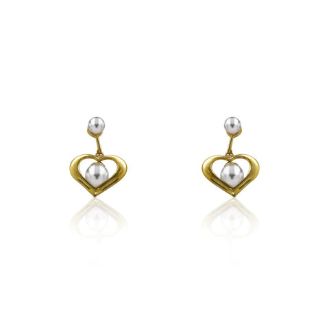 Earrings $299.00 Pearl Heart Drop Dangle Earrings In 14K Yellow Gold Pearl Yg