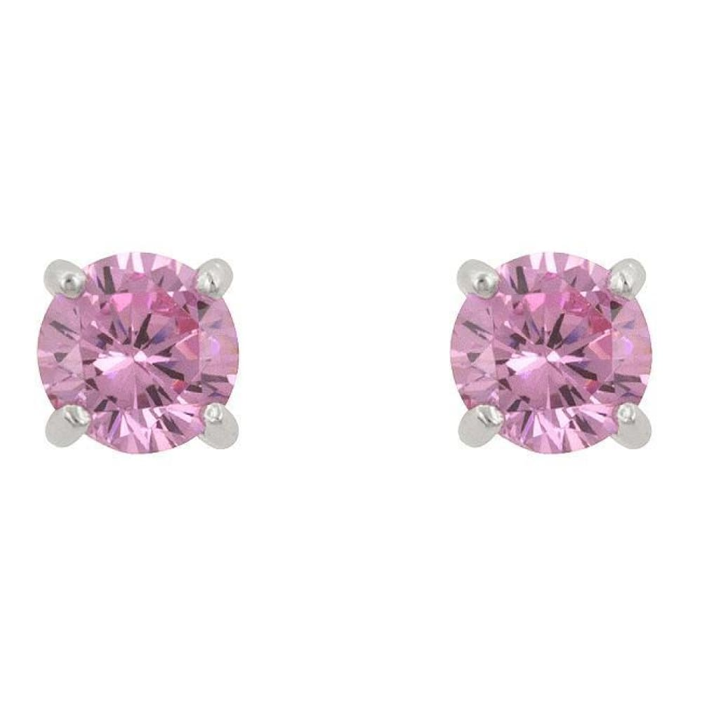 Earrings $28.00 Pink Cubic Zirconia Stud Earrings (1 Carat 1.5 Carat) 25-50 earrings size-1-carat