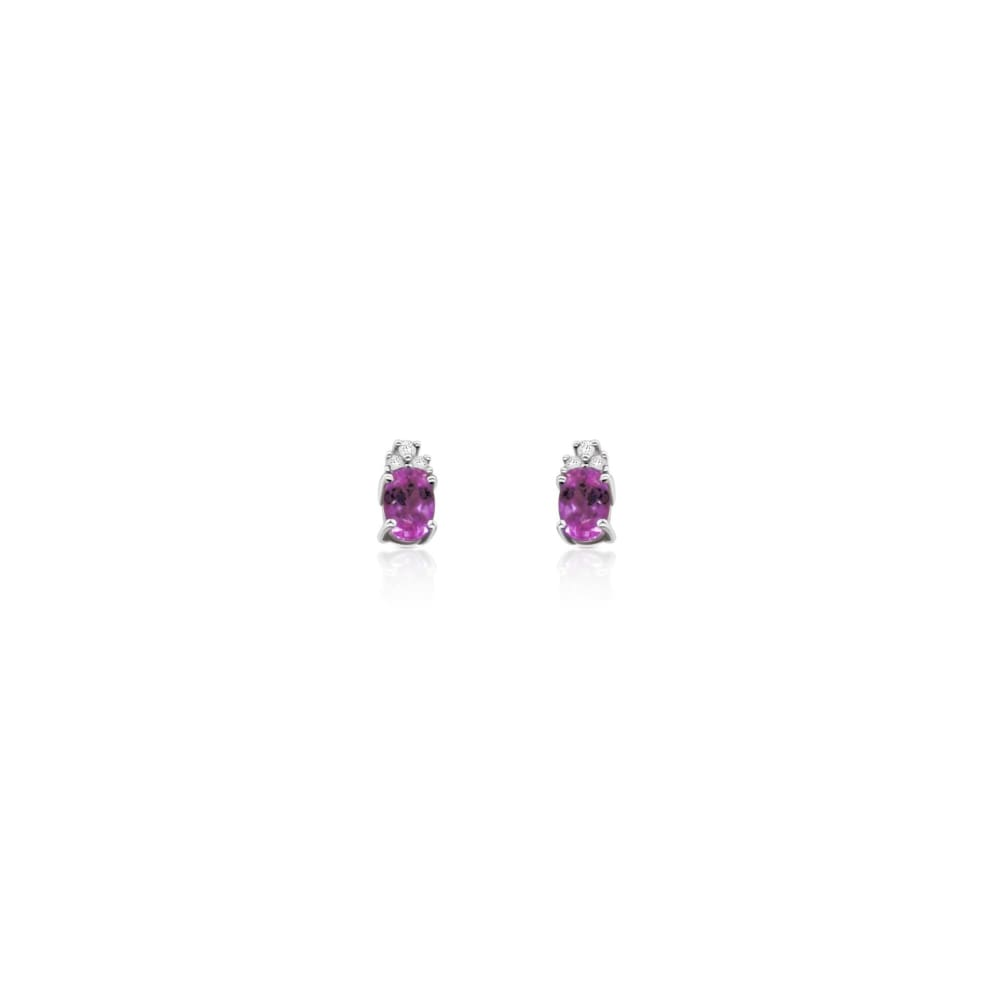 Earrings $299.99 Pink Topaz And Diamond Earrings 14K White Gold Colored Stones Pink Stud
