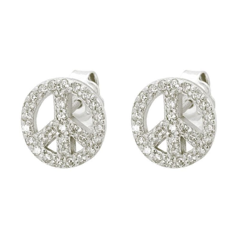Earrings $44 Sparkling Cubic Zirconia Peace Sign Stud Earrings 25-50, clear, cubic-zirconia, cz, earrings