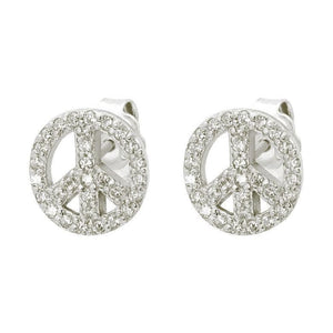 Earrings $47.00 Sparkling Cubic Zirconia Peace Sign Stud Earrings clear cz peace
