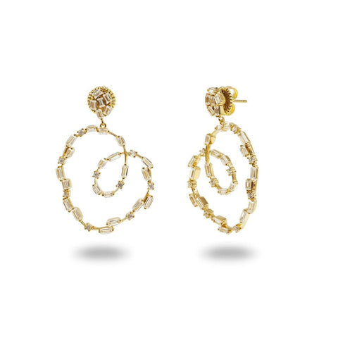 Earrings $135.00 Sparkling CZ Spirals baguette cz yg
