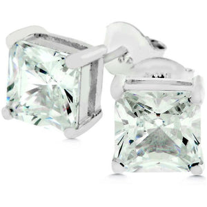 Earrings $45.00 Sterling Silver 4 Carat Princess Cut Stud Earrings earrings under-25