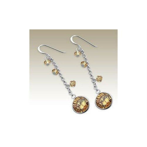 Earrings $32.88 Sterling Silver Champagne CZ Stone Earrings champagne cubic-zirconia cz earrings