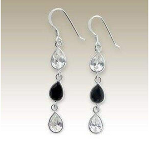 Earrings $31.48 Sterling Silver Clear and Black Teardrop CZ Stones Earrings 25-50, black, clear, color-black, cubic-zirconia