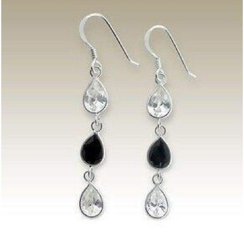 Image of Earrings $31.48 Sterling Silver Clear and Black Teardrop CZ Stones Earrings 25-50, black, clear, color-black, cubic-zirconia