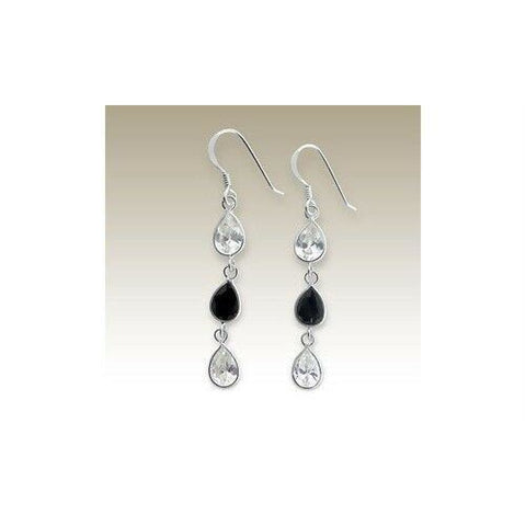 Image of Earrings $31.48 Sterling Silver Clear and Black Teardrop CZ Stones Earrings Black Clear cubic-zirconia CZ earrings