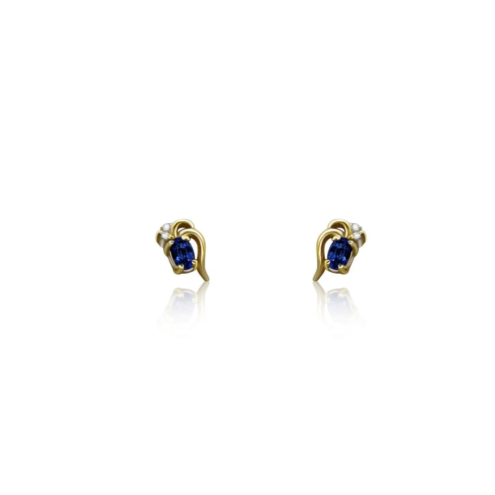 Earrings $299.99 Tanzanite And Diamond 14K Yellow Gold Stud Earrings Colored Stones Purple Stud Yg
