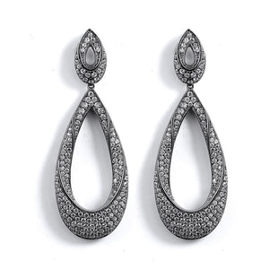 Twisted Tear Drop Pave Formal Event Earrings
