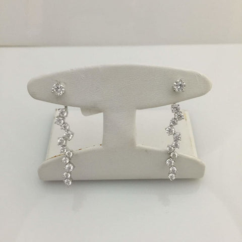 Earrings $100.00 Wavy Drop Of Cubic Zirconia Stones Earring Jacket Drop Earrings Jacket Formal Earrings Trending