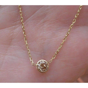 0.25 Carat Champagne Diamond Bezel on a Chain 14K Yellow Gold