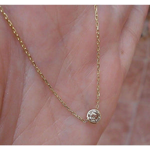 Necklaces $414 0.30 Carat Champagne Diamond Bezel on a Chain 14K Yellow Gold 400-500, necklaces